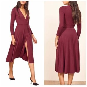 REFORMATION Maurie Midi Wrap Dress Aubergine Large
